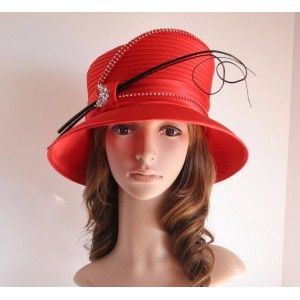 NEW Church Derby Wedding Cloche Satin & Rhinestone & Feather Rods Hat Red  eb-46351792
