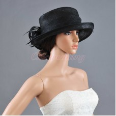 Newest Ladies Church Hat Kentucky Derby Hat Sinamay Wide Brim Wedding Black Hat  eb-97959939