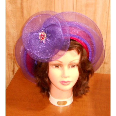 Red Hat Ladies  Red Satin Covered Wool Hat with Purple Horsehair Accents  eb-37451014