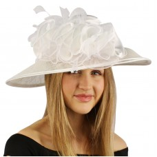Satin Flat Top Feathers Ruffles Kentucky Derby Floppy Bucket Church Hat White  eb-56201413