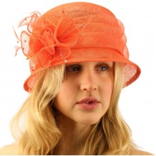 Summer Fancy 1920s Flapper Sinamay Trio Floral Cloche Bucket Church Hat Coral  eb-01521206