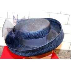 Vintage Navy Blue Straw and Tulle Bow Mujer's Hat   eb-60274299