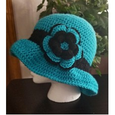 WOMAN'S HANDCROCHETED SUN HAT WITH FLOWERTEAL & BLACKNEW  eb-17648154