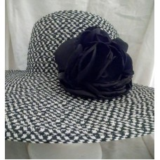womens straw hats Apt 9 black and white tweed with black flower large brim  eb-84194364