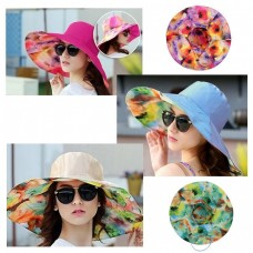 2018 Lady Sun Hat Summer Beach Floral Hats Foldable Wide Brim Outdoor Cap Hot  eb-32324468