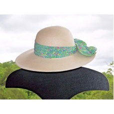 CAPPELLI WIDE BRIM STRAW HAT WITH FLORAL BAND AND BOW MADE IN FLORIDA  eb-68692489