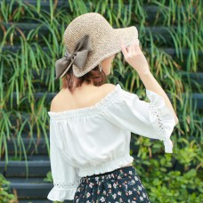 EP_ Mujer Summer Bowknot Wide Brim Hat Cocktail Party Travel Grass Visor Cap San  eb-91660861