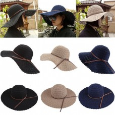 Elagant Mujer Summer Sun Hat Wide Brim Lace Outdoor Travel Foldable Beach Hat  eb-22315853