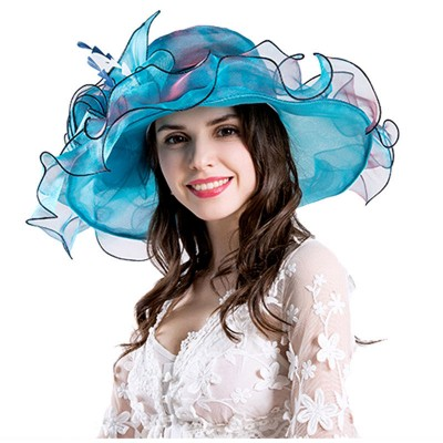 Elegant  Lace Wide Brim Kentucky Derby Sun Hat Wedding Tea Party Church Cap  eb-10647132