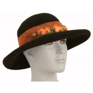 Eric Javits Black Wool Wide Brim Hat with Suede Band and Stone Detail Sz M 7 1/4  eb-63849054