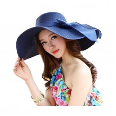 Kaisifei Bowknot Casual Straw Mujer Summer Hats Big Wide Brim Beach Hat Navy 691044198657 eb-56755324