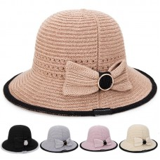 Knitted Wide Brim Cloche Cap Mujer Bow Outdoors Holiday Foldable Beach Sun Hat  eb-45269190
