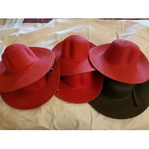 LOT  Red Hat  Black Hat  Wide Brim  Folding  Sun Hat  Church Hat Red Hat Society  eb-55728134
