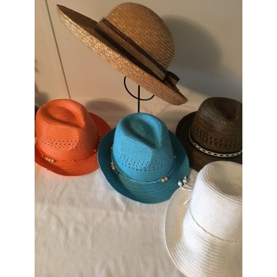 Lot Of 5 Wide Brim Womans Straw Beach Hat Sun Block Cute Colorful Variety Style  eb-36521597