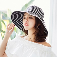 Mujer Fashion Foldable Wide Brim Sun Hat Retro Striped Bowknot Hat Holiday Beach  eb-62563612