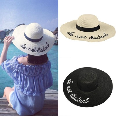 Sun Hat Wide Brim Straw Hats Outdoor Foldable Beach Hats Letter Embroidery  eb-71778107