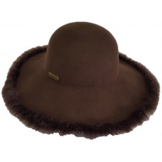 Mujer's Fall Winter 100% Wool Felt Casual Hat Fedora Floppy Wide Brim Hats Brown  eb-73034979