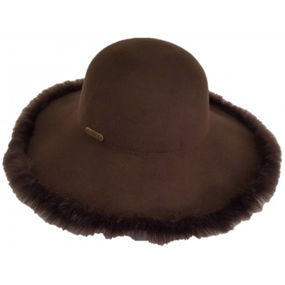 's Fall Winter 100% Wool Felt Casual Hat Fedora Floppy Wide Brim Hats Brown  eb-73034979