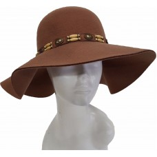 Mujer's Fall Winter Hats Cashmere Felt Floppy Fedora Wide Brim Casual Hat Camel  eb-77211665
