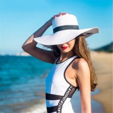 Mujer's Fashion Straw Floppy Wide Brim Summer Sun Beach Fold Hat Lady Derby Cap  eb-33766678