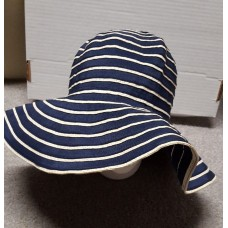 Mujer's Wide Brim Floppy Fedora Navy/White Striped Hat Easter Spring Derby  eb-45658956