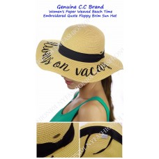 NEW CC Mujer's Paper Weaved Beach Time Embroidered Quote Floppy Brim CC Sun Hat  eb-74979690