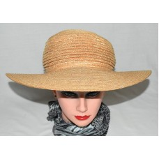 Natural Woven Straw with Ribbed Dome Wide Brim Sun Hat One Size  eb-96539257