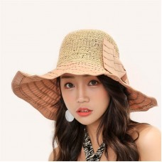 New Straw Patch Summer Hat Mujer Beach Sun Hats Bow Wide Brim Caps Chapeu Hat  eb-56662129