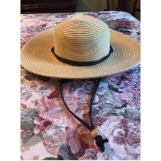 "Sloggers Wide Brim Braid Sun Hat with Lanyard Size Medium 22.5"" Natural  eb-87952346"