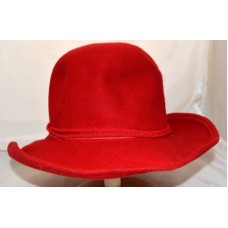 Vintage Lancaster Red Wool Mujers Wide Brim Hat w/ Twisted Rope HatBand Sz M USA  eb-86873399