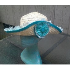 Mujer's Fancy Sun Hat Straw  Teal & Blue  Wide Brim Removable Side Ornament  eb-03284568