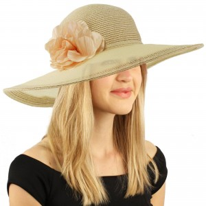 "C.C Sexy Sheer Derby Floppy Wide Brim 5"" Floral Beach Pool Dressy Sun Hat 818018026826 eb-75527370"