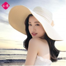 Mujer Beach Hat Sun Visor Summer Sun Straw Beach Cap Holiday Bowknot Wide Hat  eb-94586669