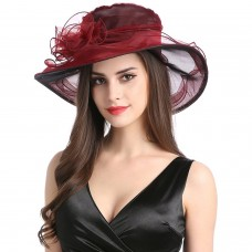 Mujers Organza Church Wide Brim Fancy Derby Tea Xmas Party Wedding Hats Wine Red  eb-32541672