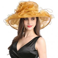 Mujers Organza Church Wide Brim Fancy Tea Xmas Party Wedding Hats Gold Flower 759981171734 eb-88522634