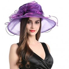 Mujers Organza Church Wide Brim Fancy Tea Xmas Party Wedding Hats Purple Bow 759981209864 eb-37764320