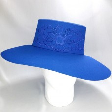 Royal Blue Fancy Church Hat Wide Brim Beaded Embroidered Floral Derby Party    eb-74499669