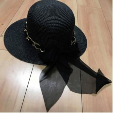 Luxury New Sun Protection Floopy Wide Brim Mujer Beach Hat  Black  eb-44133927