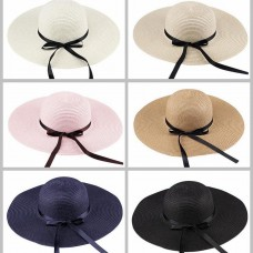 Mujer Big Wide Brim Straw Hat Summer Beach Sun Block UV Protection Hat MU  eb-14228035
