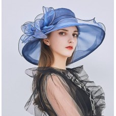 Mujers Kentucky Derby Church Summer Hats Large Brim Organza Party Wedding E109  eb-60941632