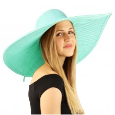 "Summer Elegant Derby Big Super Wide Brim 8"" Brim Floppy Sun Beach Dress Hat Mint 26265225040 eb-08185022"