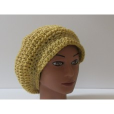 Newsboy Cap Hat in Topaz with Faux Leather Buttons Accent HANDMADE CROCHET  eb-62532980