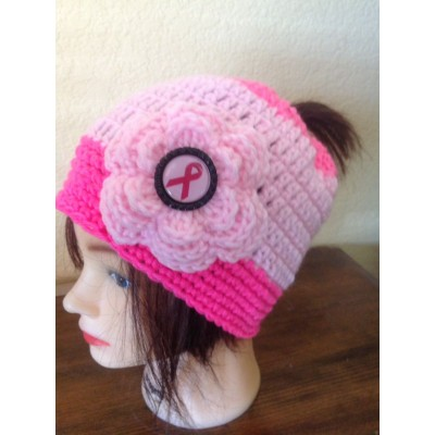 Breast Cancer Awareness Pony Tail Beanie hand crochet hat cap  PINK Chemo NEW  eb-86018241