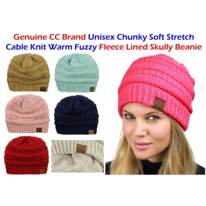 CC Beanie 's  FLEECE LINED Chunky Soft Stretch Cable Knit Warm Fuzzy Beanie  eb-69171281