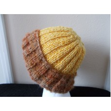 Hand knitted elegant and warm wool beanie/hat  brown + sunny yellow  eb-94660076