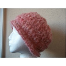 Hand knitted elegant and warn mohair blend beanie/hat  mauve rose pink  eb-45615466