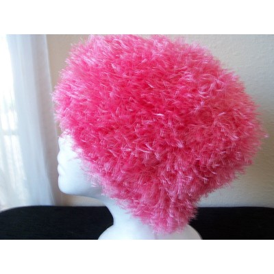 Hand knitted warm  soft & fuzzy beanie/hat  princess pink  eb-23846412