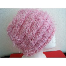 Hand knitted warm and bulky beanie/hat   soft light pink  eb-96097574