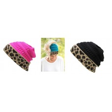 K&B Soft Stretch Knit Bun Ponytail Beanie Hat Cheetah Leopard Pink Black Blue  eb-94098088