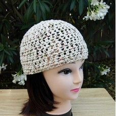 Light Brown Beige Cotton Crochet Knit Hat Summer Mujer's Beanie  Chemo  Skullcap  eb-37117213